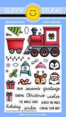 Sunny Studio Stamps: Holiday Express Christmas Critters with Train 4x6 Clear Photopolymer Stamp Set