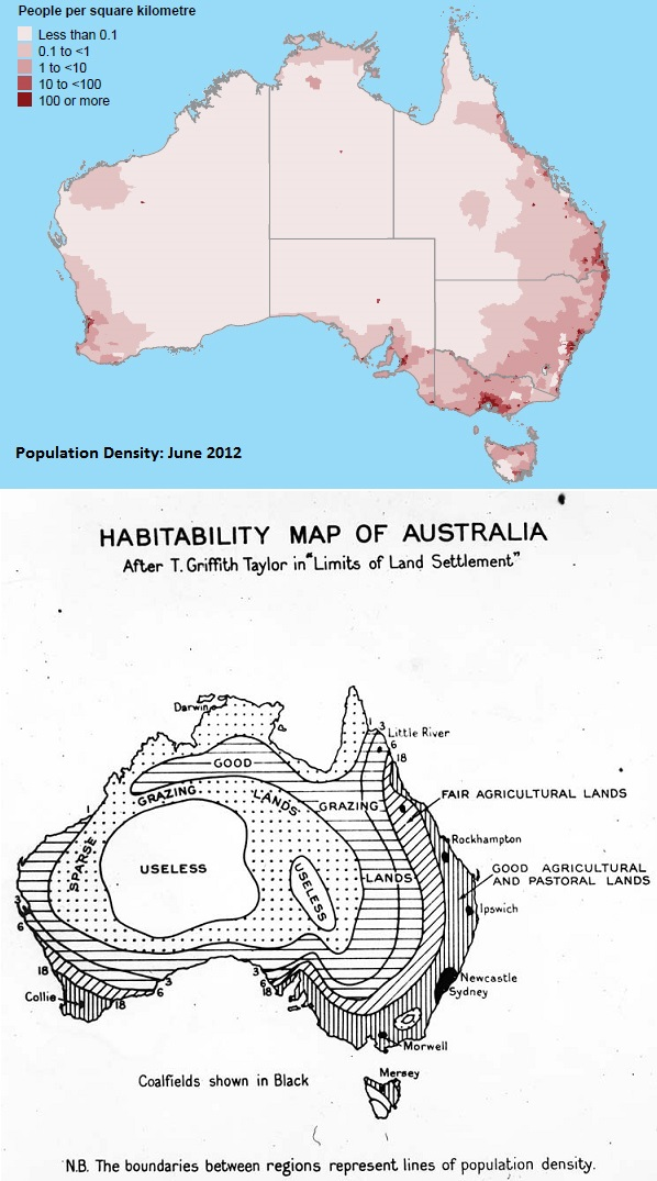 2012 Population Density and 1920's Era Habitability Maps of Australia