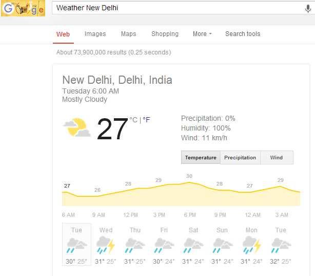 weather on google