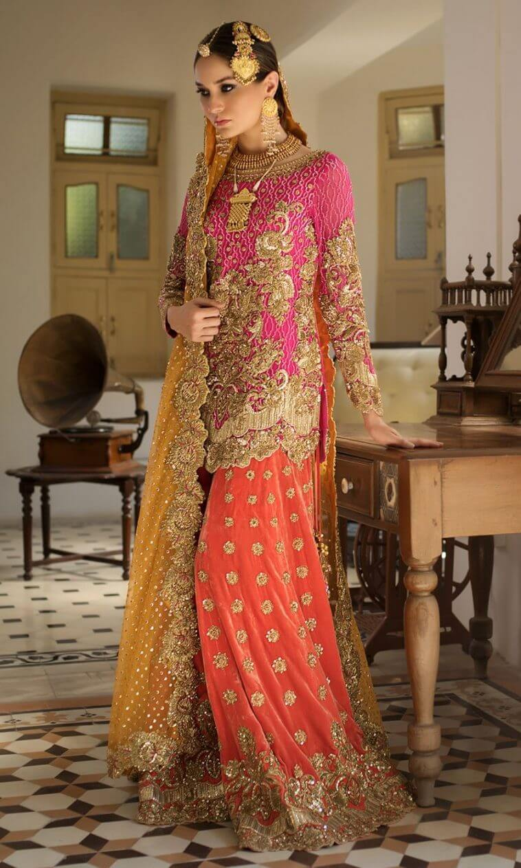 Embroidered Chiffon Pakistani Bridal Mehndi Dress by Nomi Ansari