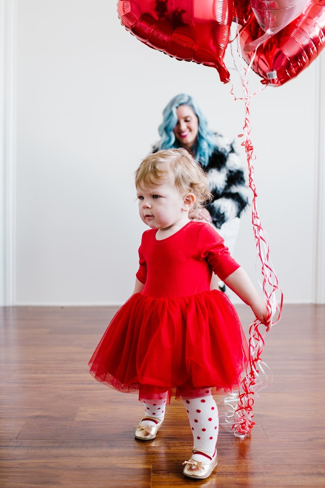 Red Tulle, Baby Girl Valentine's Day Outfit, Heart Balloons