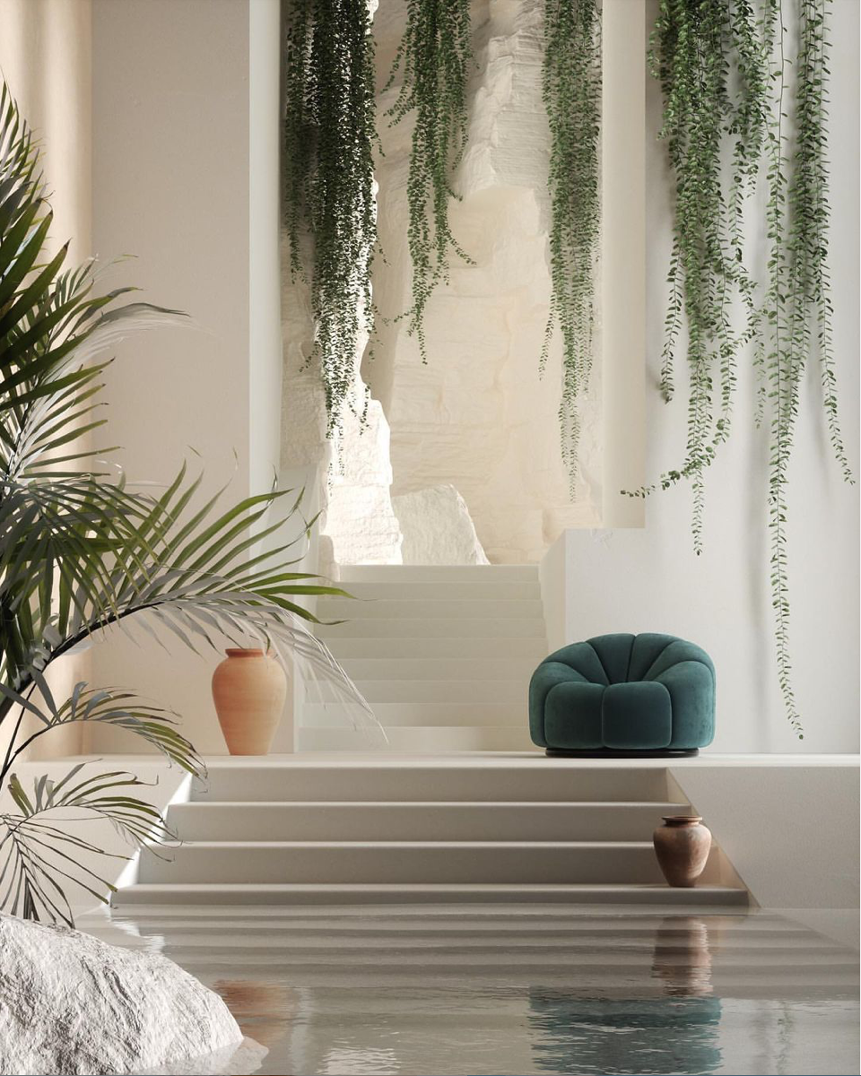 escaping reality in an indoor swimming pool with antiquities details and plants