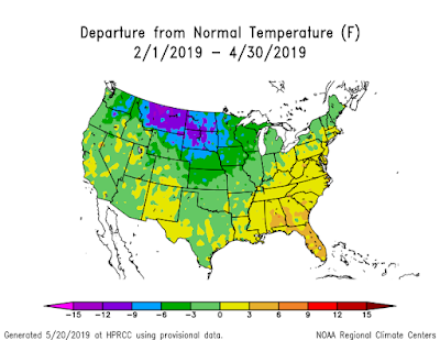 Figure 11. Departure from normal temperature (F) (February-April) - High Plains Regional Climate Center.