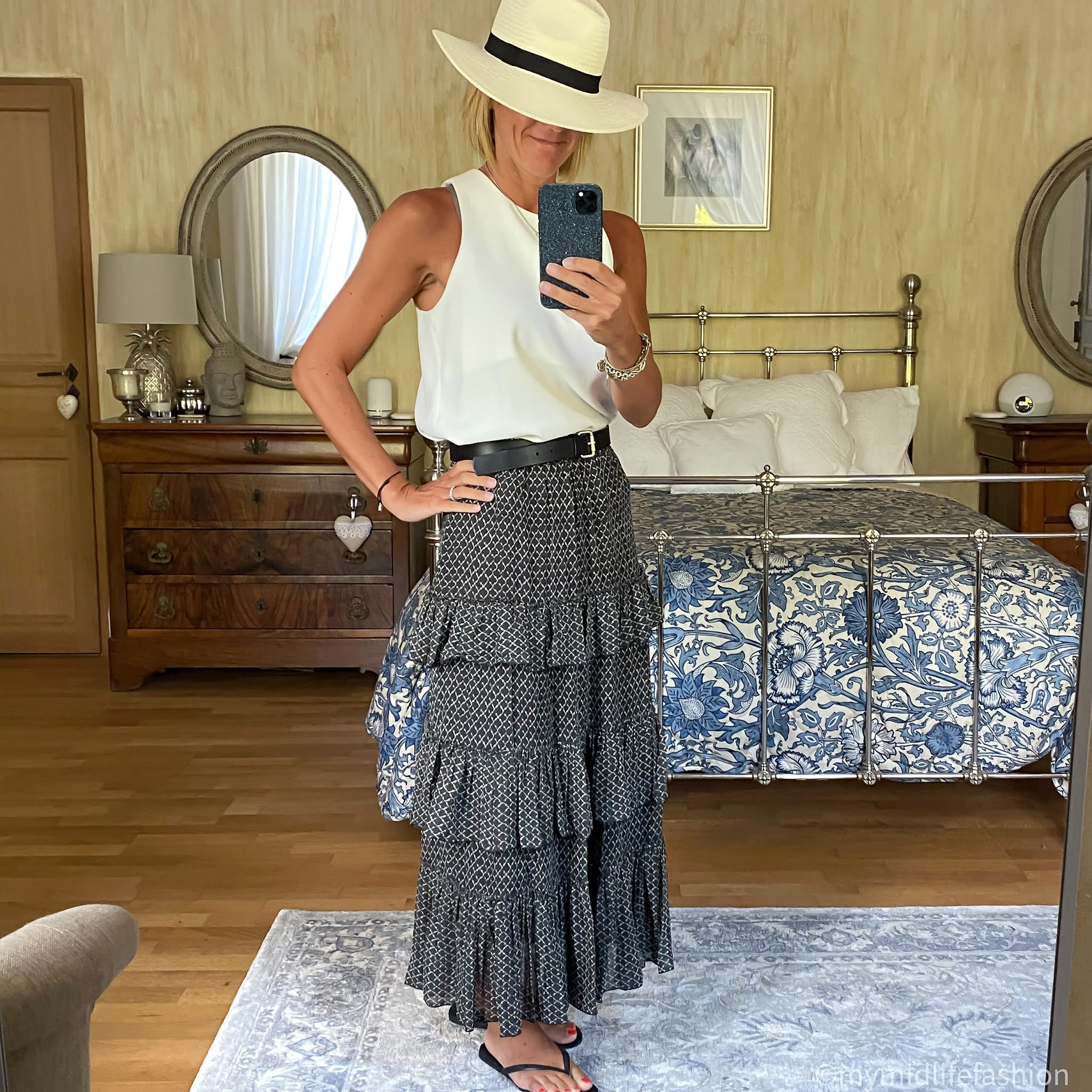 my midlife fashion, zara Panama hat, zara shell top, boden classic buckle belt, Isabel Marant Etoile tiered ruffle maxi skirt, havaianas slim fit flip flops