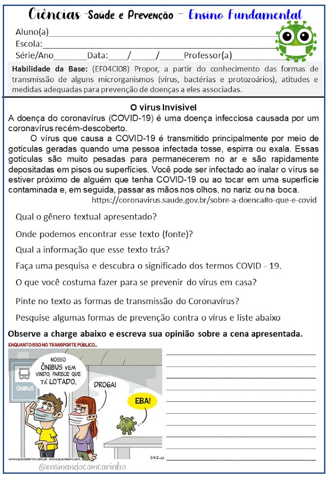 Atividade para trabalhar o coronavírus de acordo com a BNCC