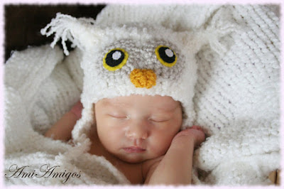 Crochet White Owl Hat