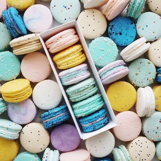 Teal, Mint, Blush, Yellow Macarons