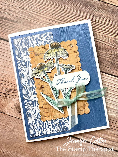 Stampin' Up! Nature's Harvest Bundle.  Card using Stampin' Up!'s Natures Harvest Bundle, Harvest Dies, Cork Specialty Paper, Harvest Meadow Designer Series Paper (DSP), Soft Succulent Open Weave Ribbon, Champagne Rhinestones, Timber embossing folder, and Stampin' Blends!  Supply list and video link on blog!  #StampinUp #StampTherapist #NaturesHarvest