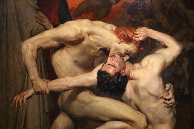 William-Adolphe Bouguereau: Dante e Virgilio nel girone dei falsari (dettaglio)