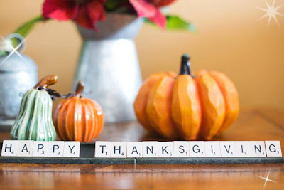 Happy thanksgiving written on a table with flower background.