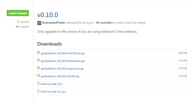download geckodriver from github