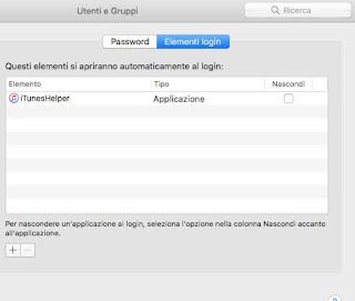 Elementi login mac
