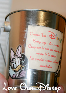 I love this chore bucket idea as a way to let kids earn spending money for Disney