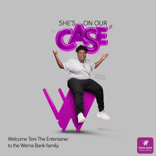 Teni makanaki is now a brand ambassador for Wema Bank.