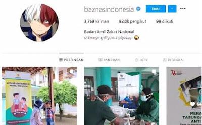 Akun IG Baznas Sempat Diretas dan Diganti Foto Profilenya Menjadi Todoroki Shoutou!