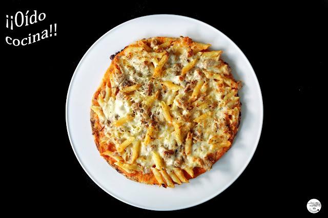 Pizza de macarrones y atún