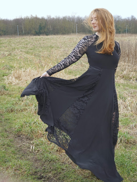 simply be black lace maxi dress