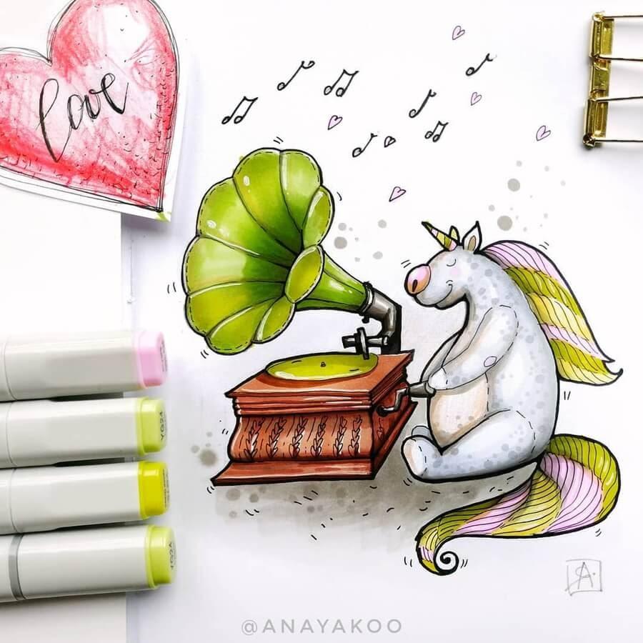 09-The-unicorn-and-the-gramophone-Anya-Yakovleva-www-designstack-co