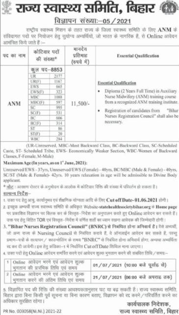 SHSB ANM Recruitment 2021 Apply Online