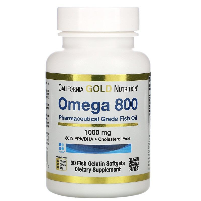 California Gold Nutrition, омега 800, рыбий жир фармацевтической степени чистоты, 80% ЭПК/ДГК, в форме триглицеридов, 1000 мг, 30 рыбно-желатиновых капсул