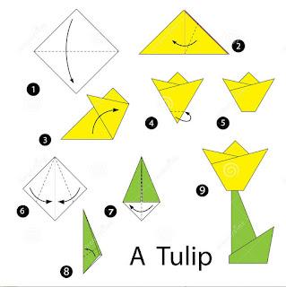 cara membuat bunga tulip dari kertas origami