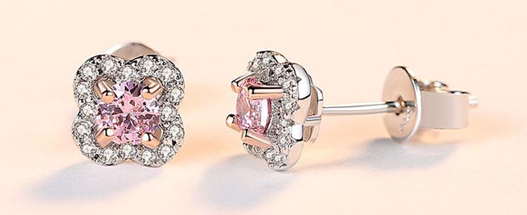 粉紅鋯石 925純銀耳環 (LO-59項鍊)