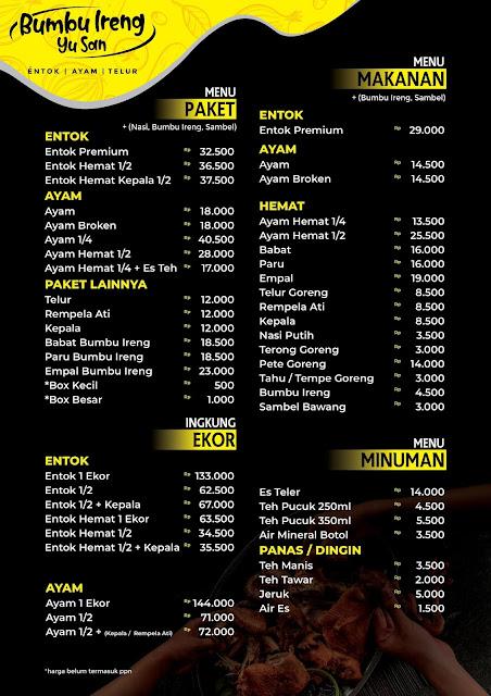daftar menu nasi box bumbu ireng yusan jl. s.parman  purwokerto