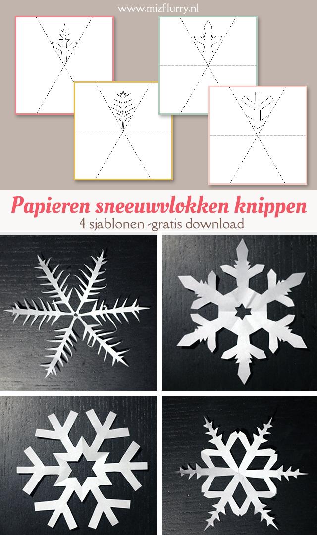 Sjablonen om sneeuwvlokken te knippen