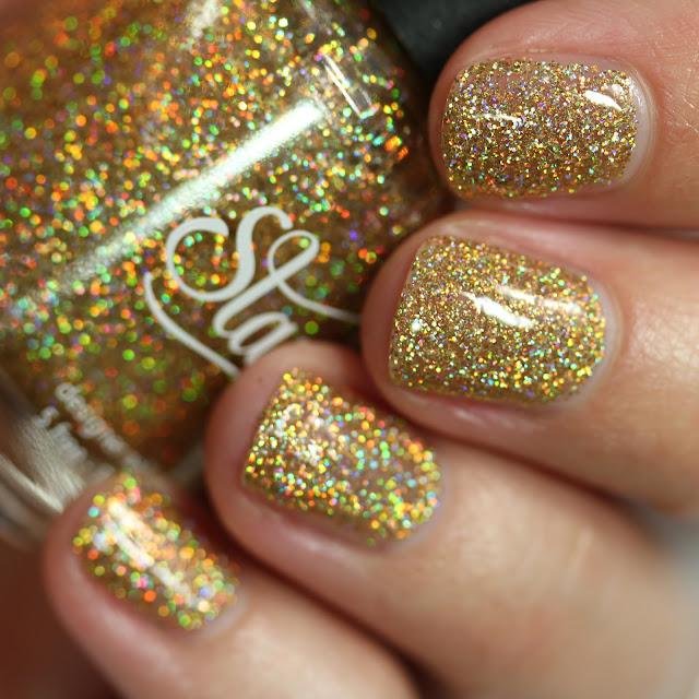 holographic gold glitter nail polish