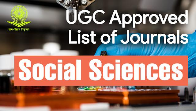 UGC Approved Journals Cares List for Social Sciences