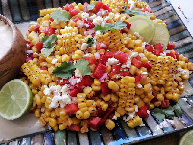 Mexican Corn Salad with Mexican Crema, Mexican street style corn salad, Mexican Crema, corn salad, salad, Mexican, street style food, braai, bbq, taco, wrap, food, recipe, food blogger, food flatlay, spicy fusion kitchen, salad recipe, food photography, food blogger, food blog, pinterest food,