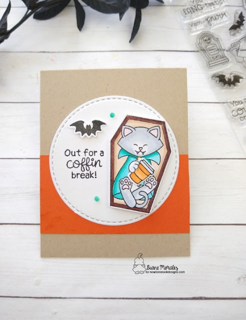 Out for a coffin break by Diane features Count Newton, Circle Frames, and Pumpkin Latte by Newton's Nook Designs; #inkypaws, #newtonsnook, #coffeeloverscards, #halloweencards, #cardmaking