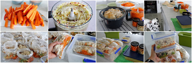 Preparing homemade dog food in bulk for frozen storage ready use