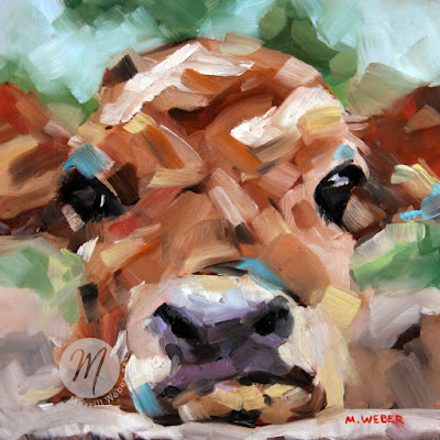 Sweet Sally cute cow oil painting by Merrill Weber
