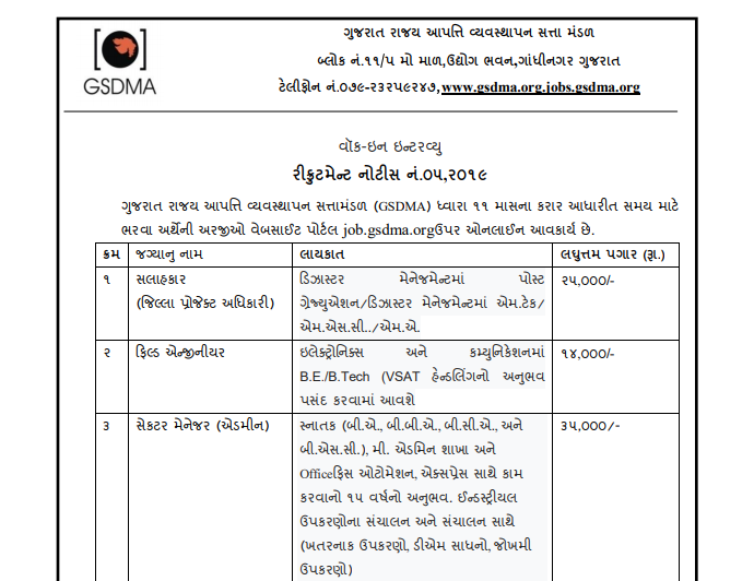GSDMA Recruitment for Consultant, Field Engineer & Sector Manager Posts 2020