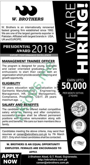 Latest W. Brothers Private Limited Management Posts 2021