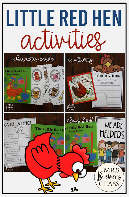 The Little Red Hen book study unit with Common Core aligned companion activities, class book, and craftivity for Kindergarten and First Grade