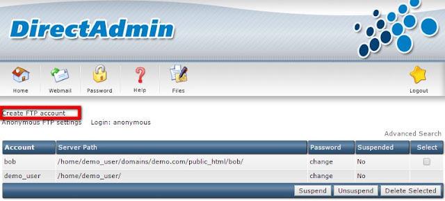 FTP Account trên DirectAdmin