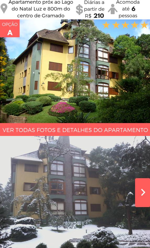 Apartamento Temporada Gramado próximo Lago do Natal Luz