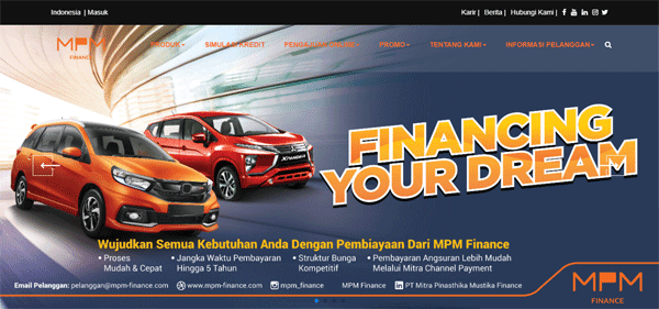 halaman website resmi mpm finance