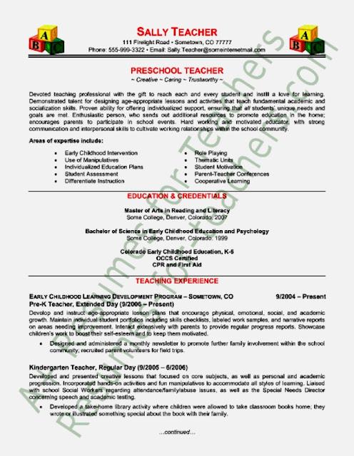 kindergarten teacher resume job description preschool teacher job