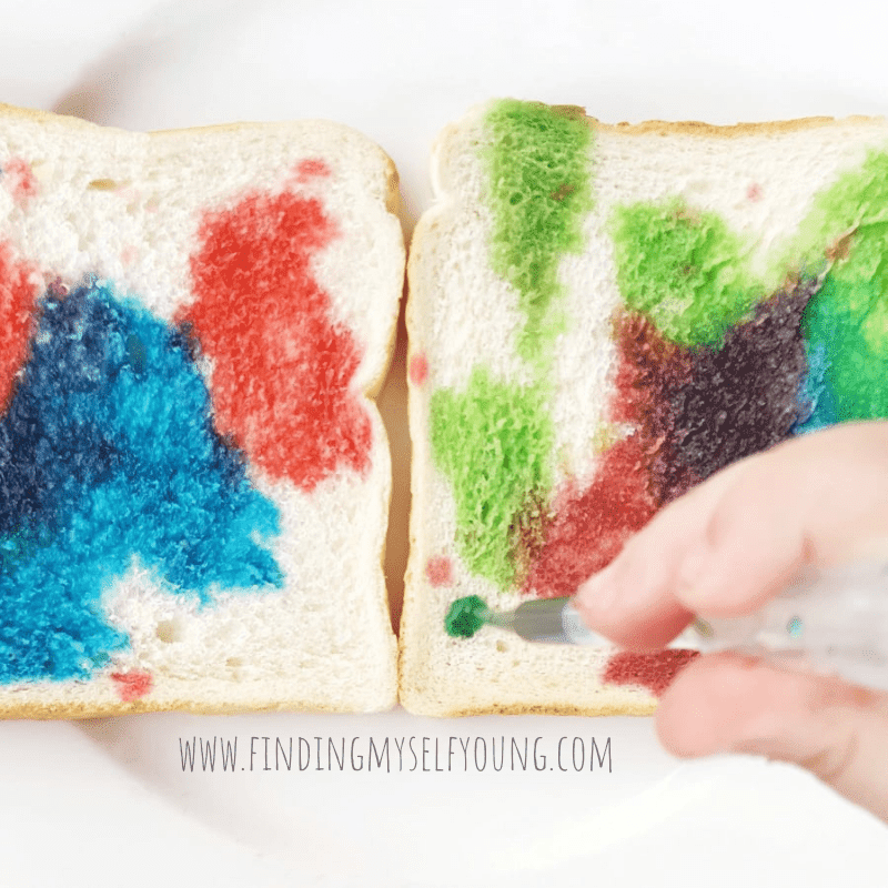 colourful bread activity with food colouring