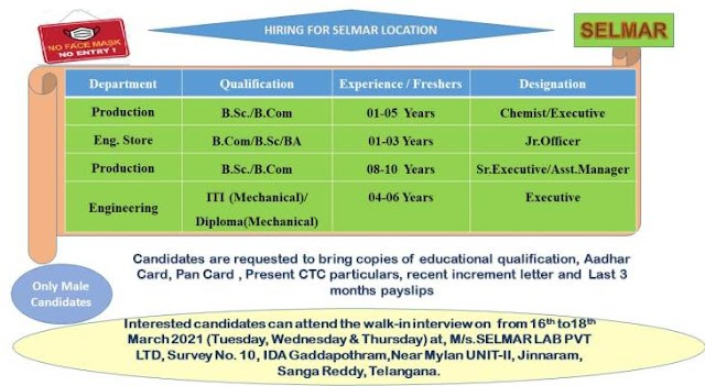 Selmar Labs | Production/Engg.Store/Engg on 16th to 18th Mar 2021