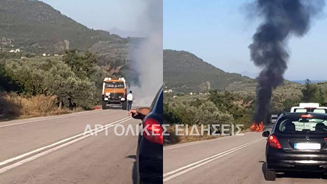 Αυτοκίνητο τυλίχθηκε στις φλόγες στο Λυγουριό