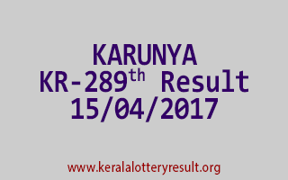 KARUNYA Lottery KR 289 Results 15-4-2017