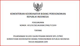 CPNS 2019 Kemenko Perekonomian