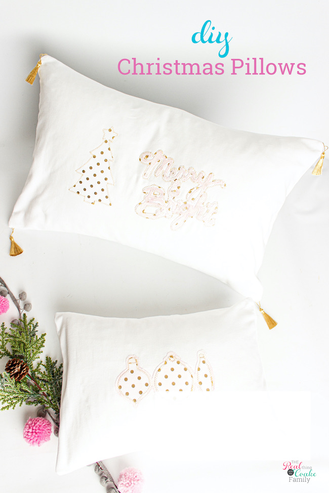 How to Make Beautiful DIY Christmas Pillows by Real Coake Family featured at Pieced Pastimes