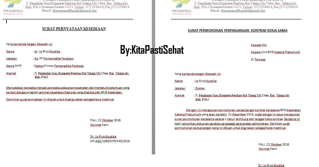 Contoh Surat Pernyataan Kesedian Dan Surat Permohonan Perpanjangan Kontrak Kerja Sama Bpjs Kesehatan Kita Pasti Sehat
