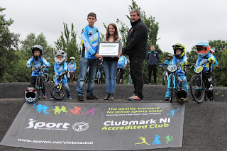 belfast city bmx club awarded clubmark by Lord Mayor Councillor Nuala McAllister