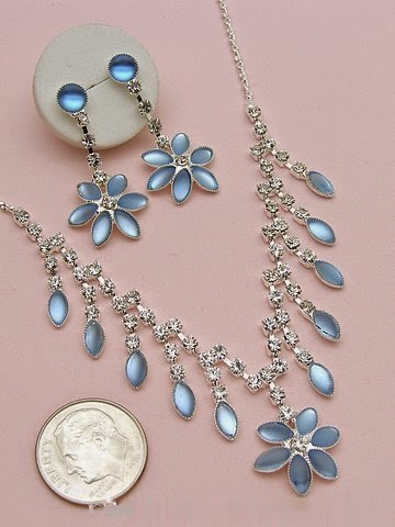 Sky blue crystal evening prom necklace earrings set
